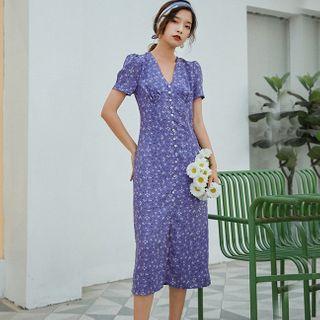 BOHEME - Floral Print Short-Sleeve Midi A-Line Dress