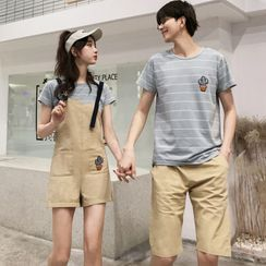 Azure - Couple Matching Short-Sleeve Striped T-Shirt / Shorts / Jumper Shorts