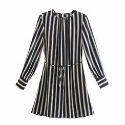 Kellus - Long-Sleeve Striped Mini A-Line Dress