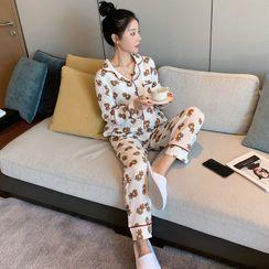 Endormi - Pajama Set: Bear Print Shirt + Pants