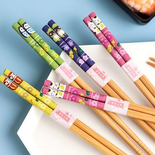 Kawa Simaya - 8 Pair Set: Cartoon Print Bamboo Chopsticks