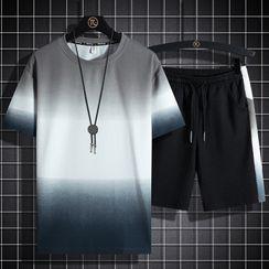 Stone Leo - 套裝: 短袖漸變色T裇 + 運動短褲