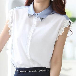 In the Mood - Lace Trim Panel Short-Sleeve Blouse