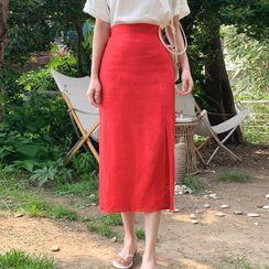 Cherryville - Slit-Hem Linen Blend Skirt