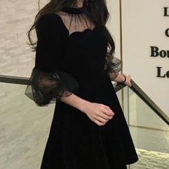 Omolon - Elbow-Sleeve Mesh A-Line Dress