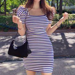 Hasu(ハス) - Short-Sleeve Striped Knit Mini Bodycon Dress