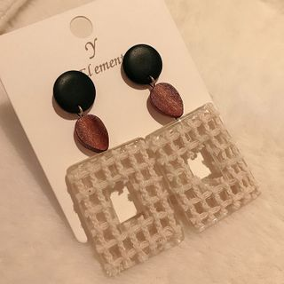 True Glam - Wooden Bead & Square Dangle Earring