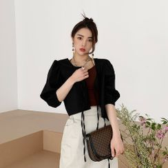 PPGIRL - Puff-Sleeve Tie-Front Blouse