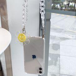 Gadget City - Transparent Smiley Flower Neck Chain Phone Case - iPhone 11 Pro Max / 11 Pro / 11 / SE / XS Max / XS / XR / X / SE 2 / 8 / 8 Plus / 7 / 7 Plus