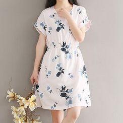 Ashlee - Floral Print Short-Sleeve A-Line Dress