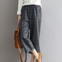 Ashlee - 格紋寬腿短款褲