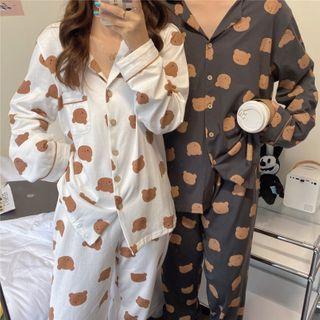 Dshe - Couple Matching Pajama Set: Teddy Bear Top + Pants