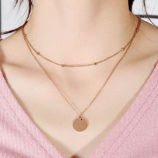 Tenri - Stainless Steel Disc Pendant Layered Necklace