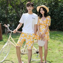 Sirene - Couple Matching Floral Print Beach Short / Short-Sleeve Swimdress