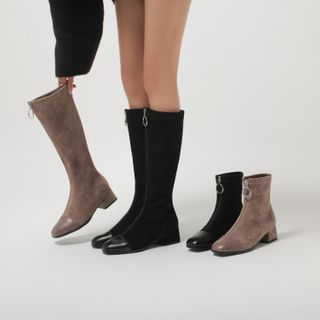 Kireina - Faux Suede Zipped Block-Heel Ankle Boots / Tall Boots