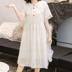 Empressa - Maternity Collared  Short-Sleeve A-Line Dress