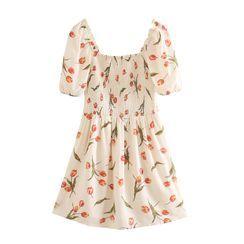 Indesi - Short-Sleeve Floral Print Mini A-Line Dress