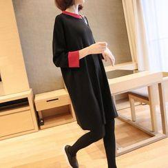 YIDIYU - 插色针织连衣裙