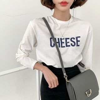 MERONGSHOP - ''CHEESE'' Printed Cotton T-Shirt