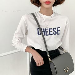 MERONGSHOP - ''CHEESE'' Printed Cotton T-Shirt