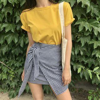 Dute - Short-Sleeve Plain T-Shirt / Mini Plaid Sheath Skirt