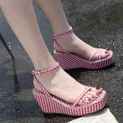 Niuna - 粗跟船跟格子踝帶涼鞋