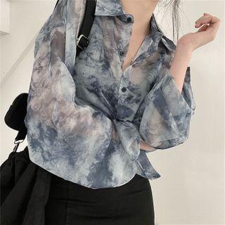 Allizzwell - Long-Sleeve See-Through Print Shirt / Plain Irregular Skirt