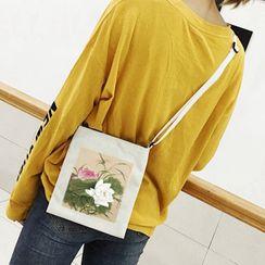 Norebom - Retro Chinese Painting Print Canvas Crossbody Bag