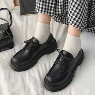 Garoque - 純色繫帶牛津鞋