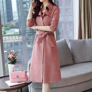 Nashe - Tie-Waist Faux Suede Trench Coat
