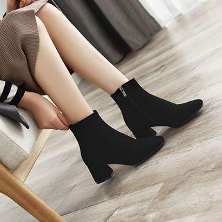 Megan - 仿麂皮粗跟踝靴