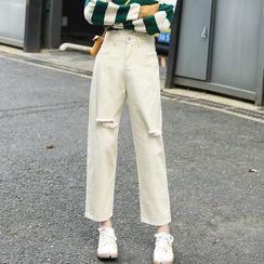 Rosehedge - 做旧九分直筒牛仔裤