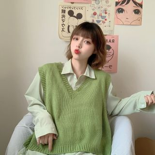 Sisyphi(シシピ) - Oversized Knit Vest / Plain Oversized Shirt