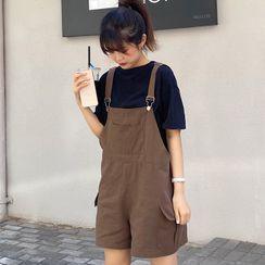 Shopherd - 短袖純色T裇 / 背帶短褲