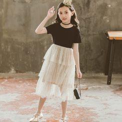 Cuckoo - Kids Short-Sleeve Layered Midi A-Line Dress