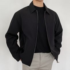 Seoul Homme - Collared Banded-Hem Zip-Up Jacket