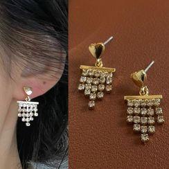 PO!NY STUDIO - Rhinestone Fringed Earring