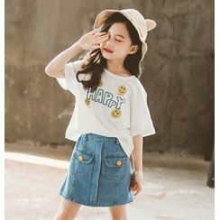 Cuckoo - Set: Kids Lettering Short-Sleeve T-Shirt + Mini A-Line Denim Skirt