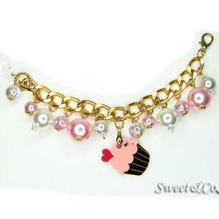 Sweet & Co. - Mini Gold-Pink Cupcake Swarovski Crystal Charm Bracelet