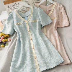 Lemongrass(レモングラス) - Pearl-Button Wool Mini Dress