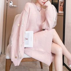 Poppy Love - 网纱覆层刺绣针织连衣裙