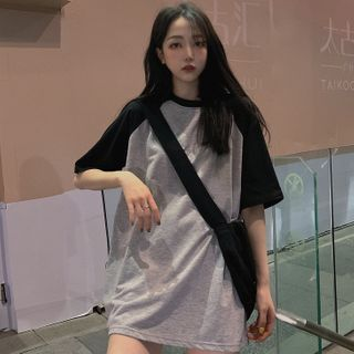 Chogen - Two-Tone Oversized Short-Sleeve T-Shirt