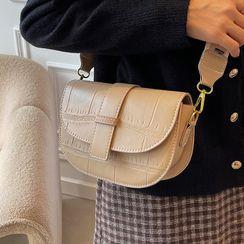 JAMEL - Croc Grain Flap Crossbody Bag