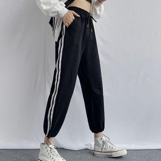 Hevnir - 條紋拼接運動褲