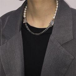 Blackcola - Faux Pearl & Hoop Necklace / Bracelet