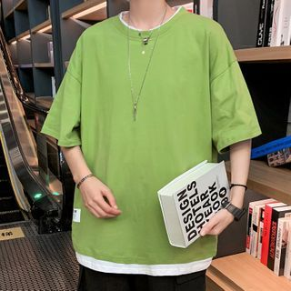 Deepwood - Elbow-Sleeve Mock Two-Piece T-Shirt