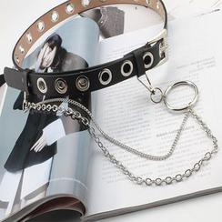 Rofuka - Cinturón de piel sintética con cadena
