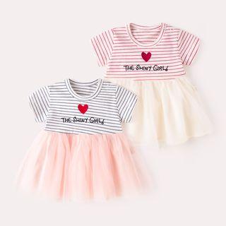 DuduBaby - 嬰兒短袖刺繡條紋網紗拼接連衣裙