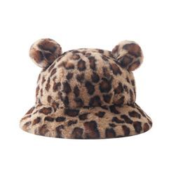 HARPY - Bear Ear Leopard Print Bucket Hat
