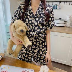 About a Girl - Pajama Set: Short-Sleeve Floral Print Shirt + Shorts